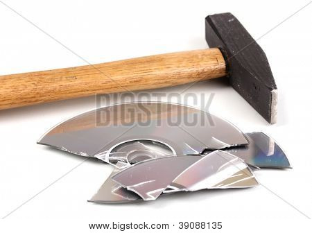 Disk broken hammer with information isolated on white