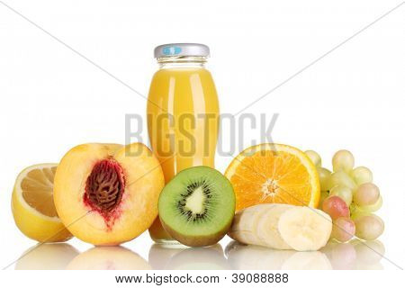 Delicious multifruit juice in a bottle and fruit next to it isolated on white