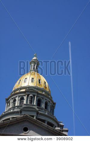 Colorado Capitol Dome And Plane
