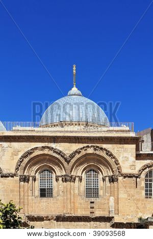 Gorgeous blue dome and arches of the upper floors of the Temple of the Holy Sepulcher in Jerusalem.