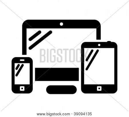 Mobile phone, desktop computer and tablet PC black vector icon