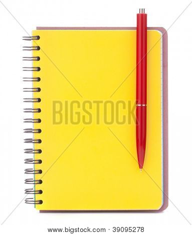 Yellow cover notebook with red pen isolated on white background cutout