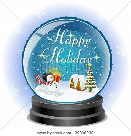 Snowman Holding A Gift Box In Snow Globe With Holiday Message