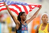 BARCELONA - JULY, 13: Ashley Spencer of USA celebrating gold in relays event of the 20th World Junio
