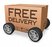 free shipping package delivery from online shopping order on internet webshop, web shop icon