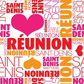 I love Reunion Saint-Denis seamless typography background pattern in vector