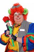 pic of clown rose  - Clown with orange hair holding prop rose - JPG