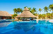 VARADERO,CUBA-NOVEMBER 4:Beautiful outdoors pool and bar at a hotel November 4,2012 in Varadero.With
