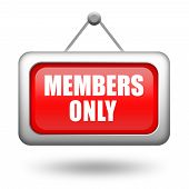 picture of fellowship  - Members only hanging sign isolated on white background - JPG