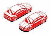 image of orthogonal  - isometric illustration black and white  of  car - JPG