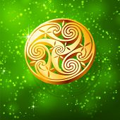 pic of triskele  - Magic golden 3D triskel on green background - JPG