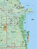 Downtown Chicago, Illinois Map poster
