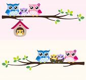 owl bird family at tree branch cartoon