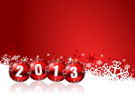 picture of happy new year 2013  - 2013 new years illustration with christmas balls - JPG