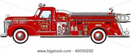 Red Vintage Fire Engine Pumper