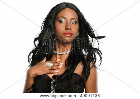 Portrait of beautiful African American woman isolated over white background