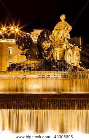 Cibeles Fountain At Night