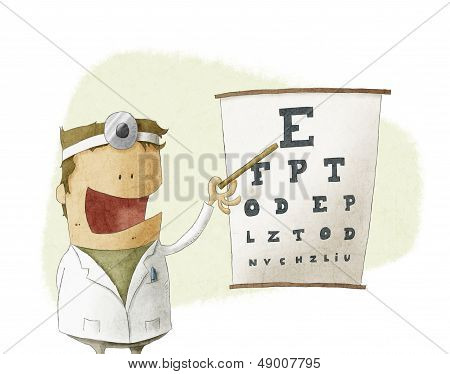 Oculist doctor pointing on a eyesight test chart