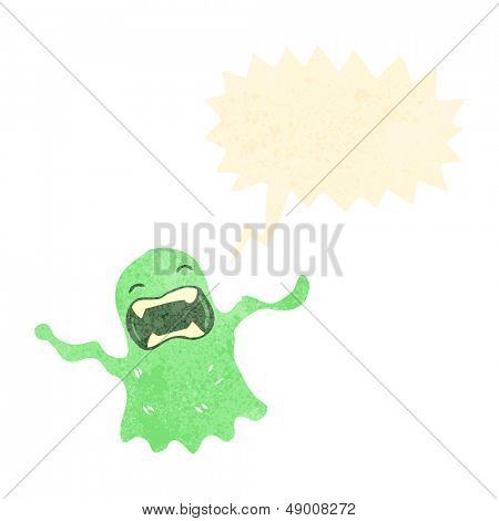 retro cartoon shrieking ghost