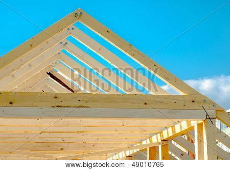 Detail of roof frame under construction