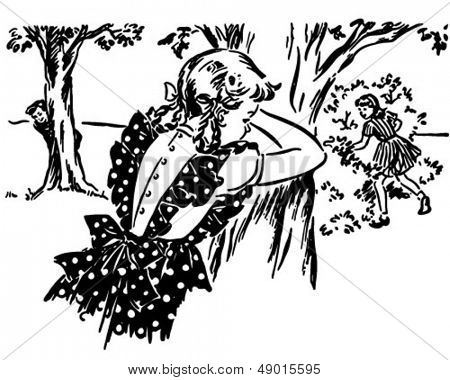 Hide And Seek - Retro Clip Art Illustration