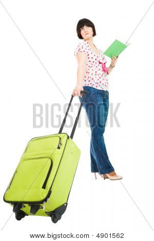 Traveler With Suitcase And Book