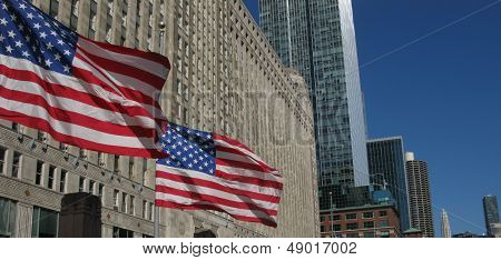 American Flags and buildings