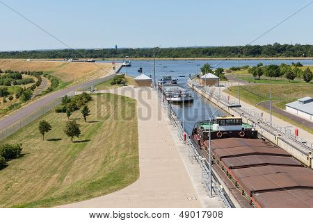 Big Sluice With Ships In Mittellandkanal In Germany