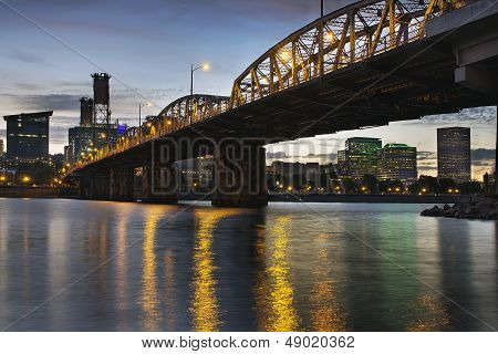 Portland Oregon Skyline Under Hawthorne Bridge