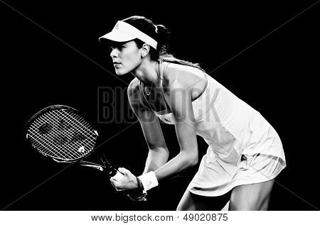 MELBOURNE - JANUARY 20: Ana Ivanovic of Serbia in her fourth round loss to Agnieszka Radwanska  of Poland at the 2013 Australian Open on January 20, 2013 in Melbourne, Australia.
