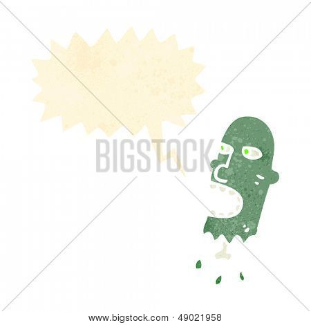 retro cartoon shrieking zombie head