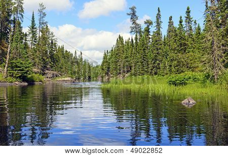 Narrow Channel On A Wilderness Lake