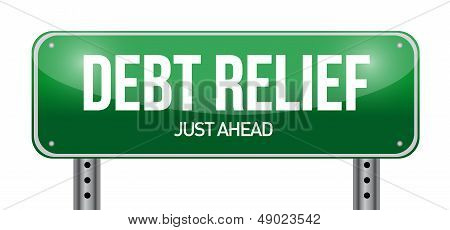 Debt Relief Road Sign Illustration Design