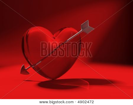 Glass Heart And Cupid Arrow On Red