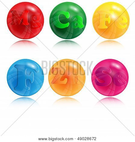 varicoloured circles with the image of letters on a white background