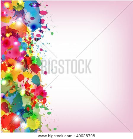 spots of varicoloured paint on a pink background