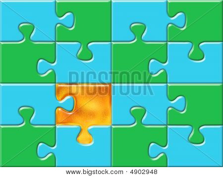 Green And Blue Puzzle Surface With One Golden