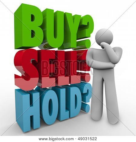 A man thinks about the right choice for investing his money in the stock market, wondering whether to Buy, Sell or Hold with 3D words behind him as he thinks