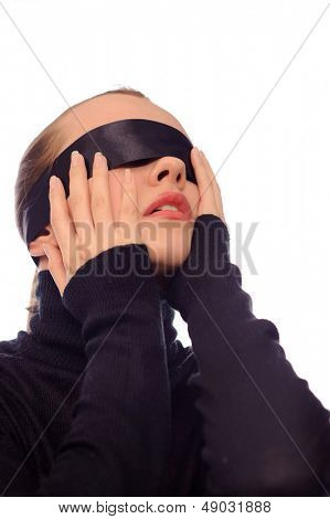 young woman with black stripe on eyes isolated on white