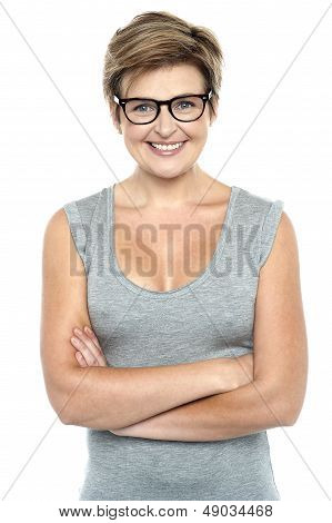 Bespectacled Lady Posing With Confidence