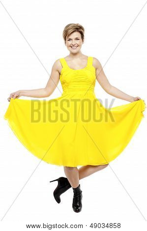 Attractive Smiling Female In Bright Summer Dress