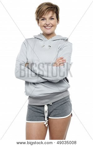 Attractive Lady Wearing Winter Sweater And Shorts