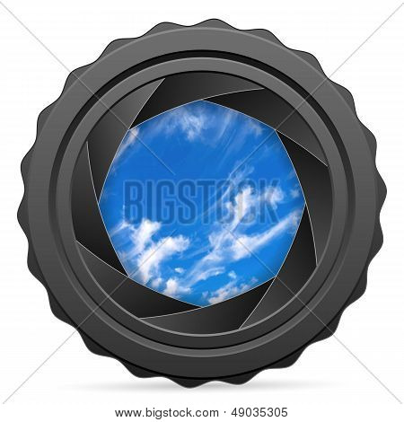 Camera Shutter With Cloudy Sky