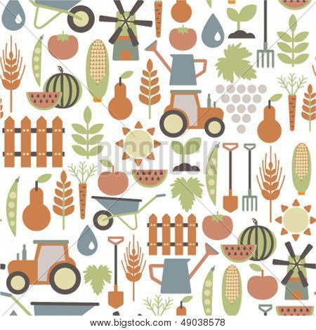 seamless pattern with agriculture icons