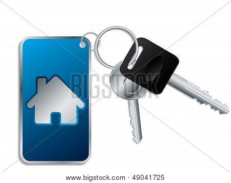 Keys With Blue Keyholder