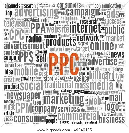 PPC and advertising concept in word tag cloud on white