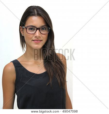 Twenty Year Old Brunette wearing glasses