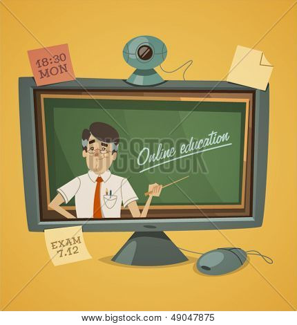 Online education. Vector illustration.