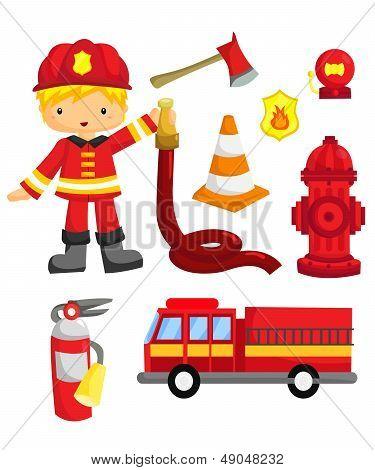Fireman Vector Set