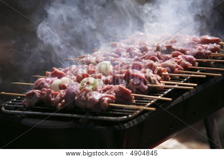 Meat Roasting On Bbq